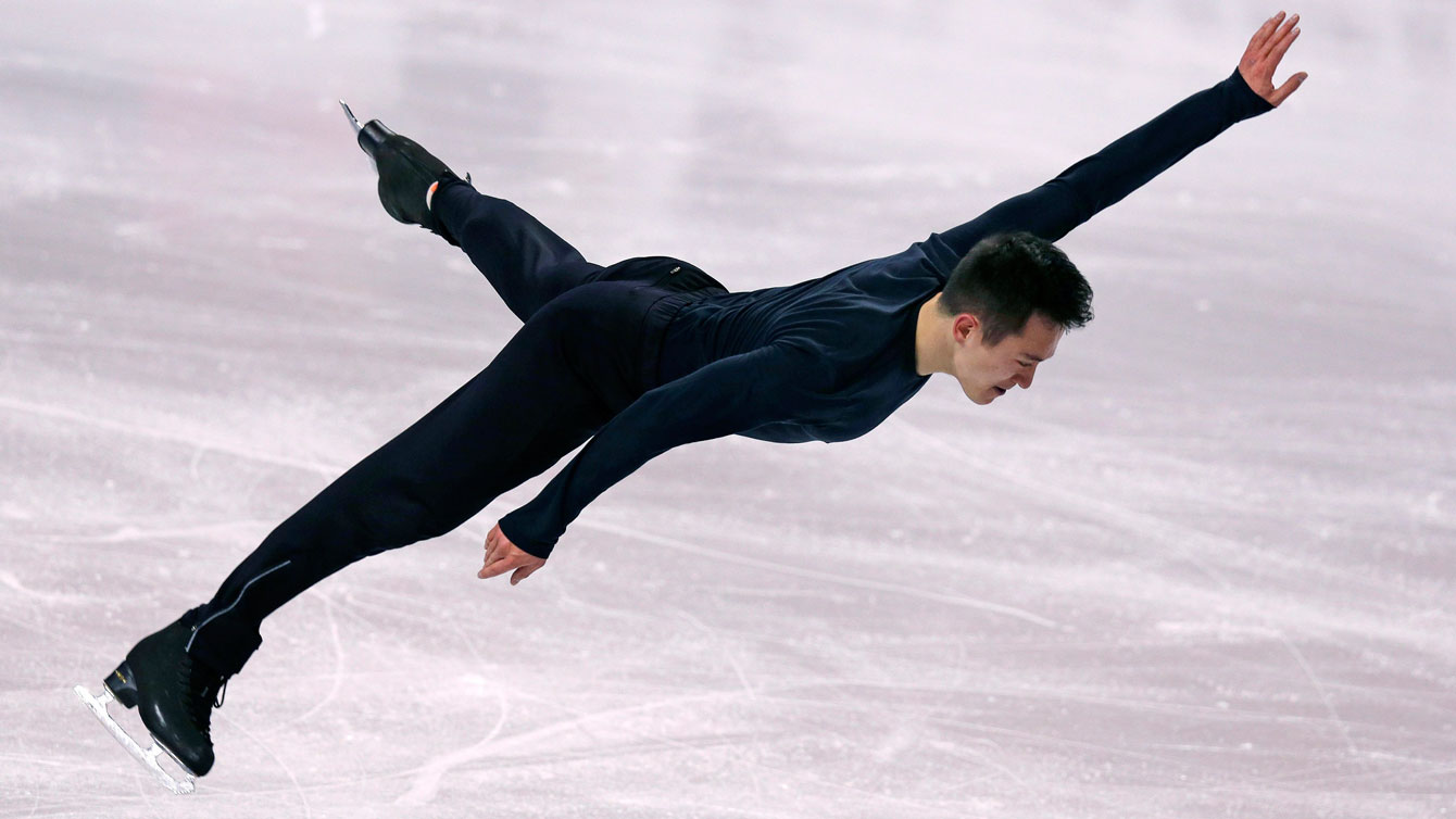 Patrick Chan during a practice session at ISU World Figure Skating Championships in Boston on March 30, 2016.