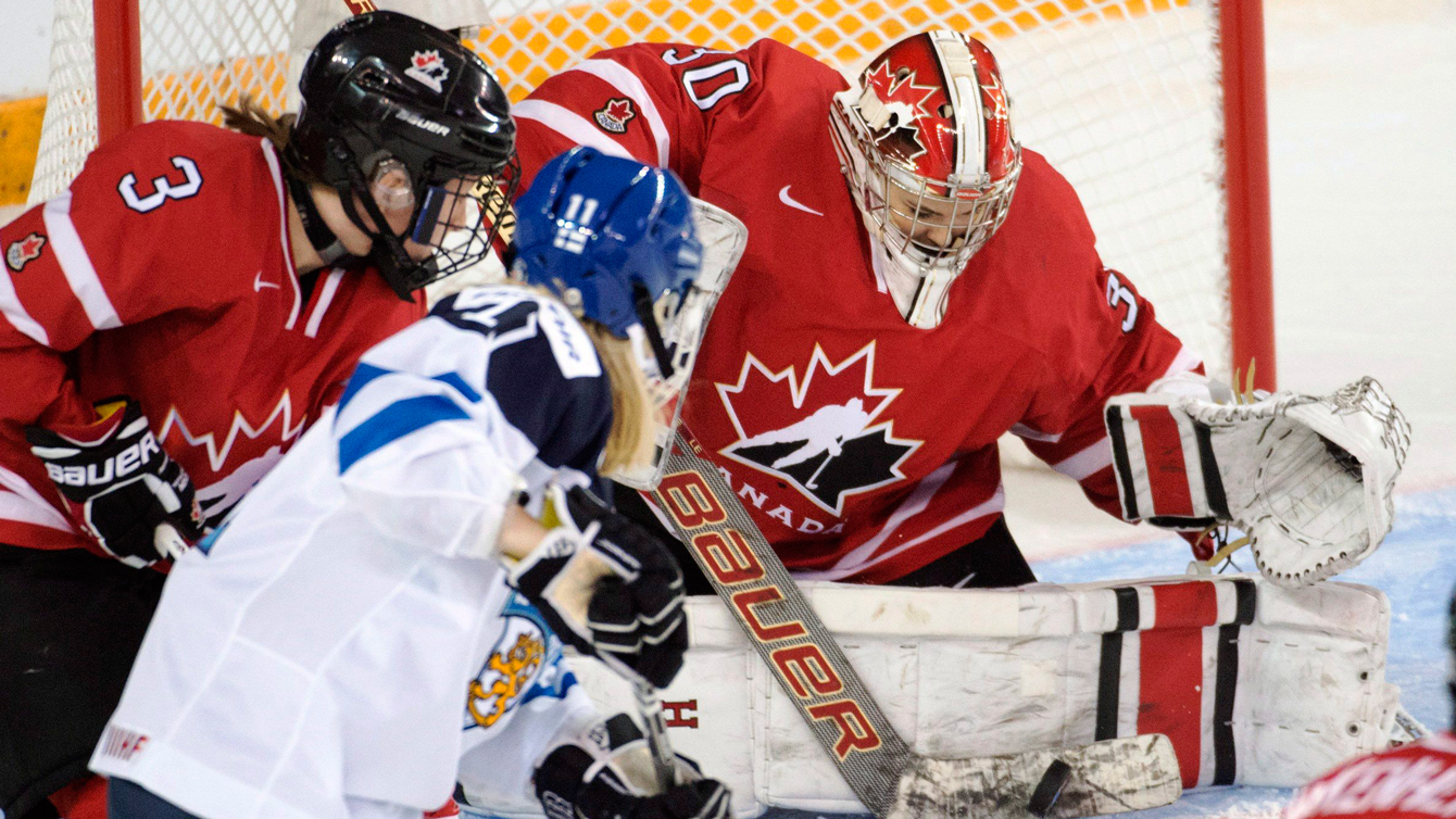 Goaltender Emerance Maschmeyer makes a save against Finland at the women's world hockey championships on March 31, 2016 in Kamloops, B.C.. (Ryan Remiorz)