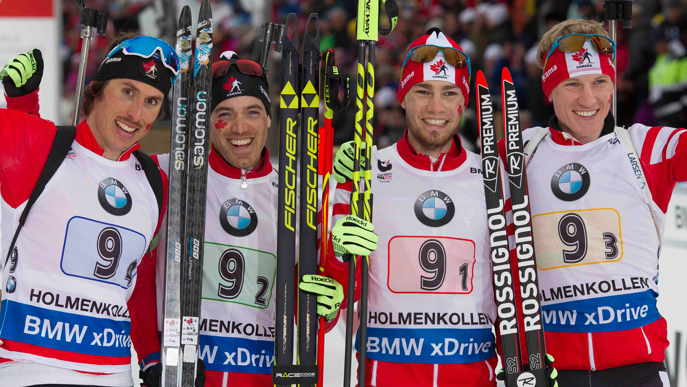 Canada's men's 4x7.5 relay team after winning bronze the IBU World Championships in Oslo on March 12, 2016. (Tumashov/NordicFocus)