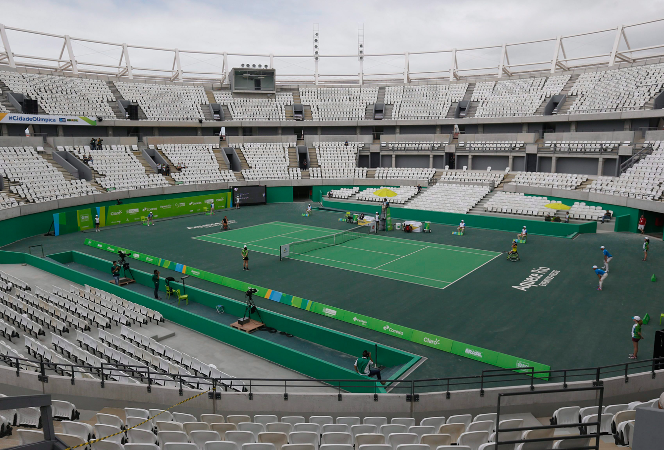 Brazil's Paralympic athletes compete during the tennis test event at Olympics Tennis Center. (Photo: AP/Silvia Izquierdo)