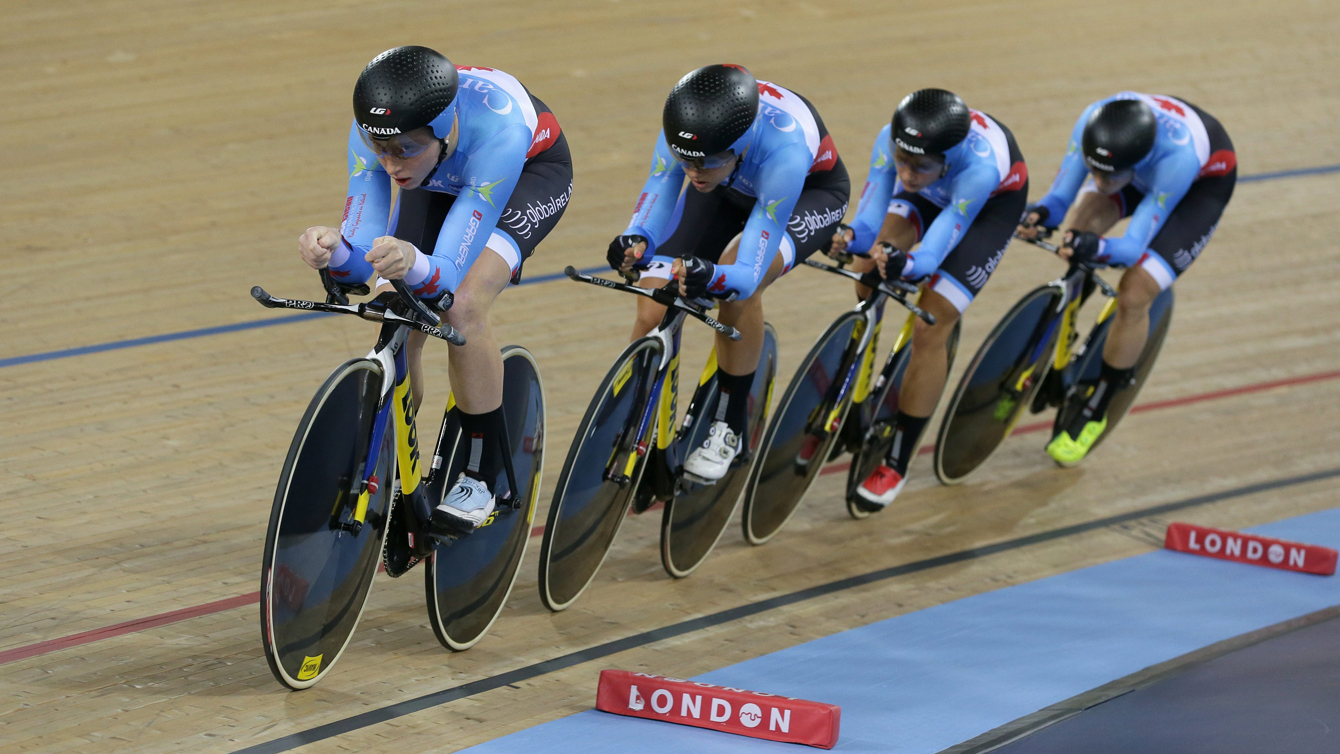 Canada rides to a silver medal at the World Track Cycling Championships in London, Friday March 4, 2016. (Tim Ireland)