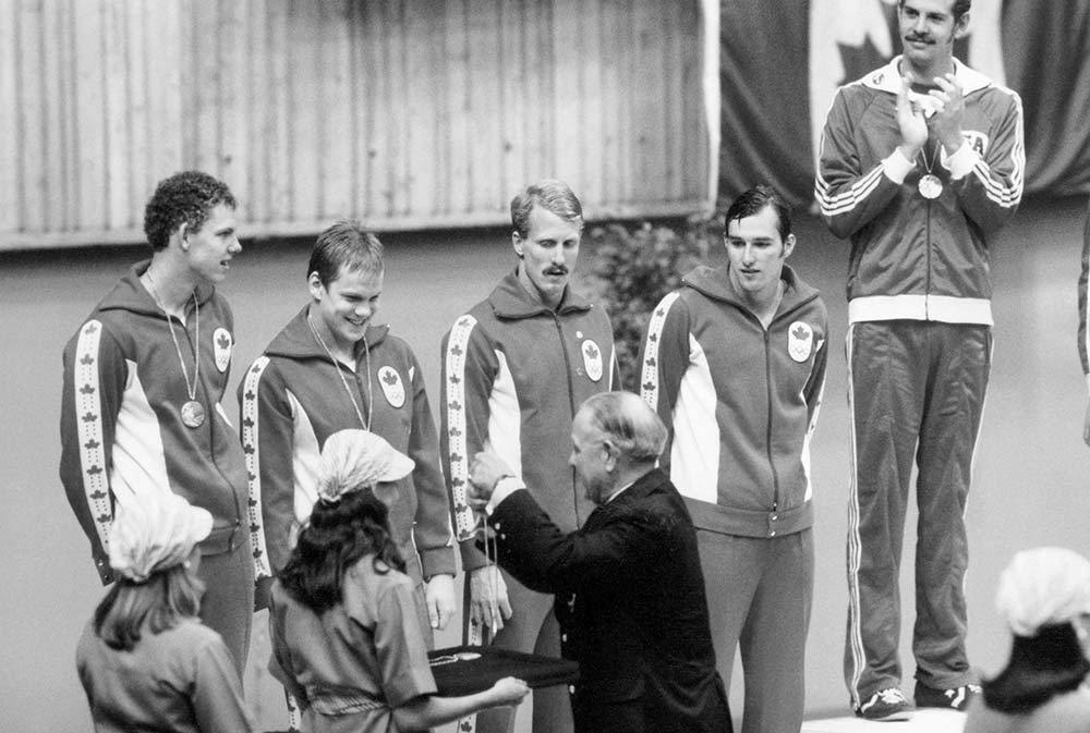July 22, 1976:Canada wins silver in the men's 4x100m medley relay atMontreal 1976.Steve Pickell,Graham Smith,Clay Evans,Gary MacDonaldandBruce Robertsonbrought home one of five silver medals won by Canada at the Games.