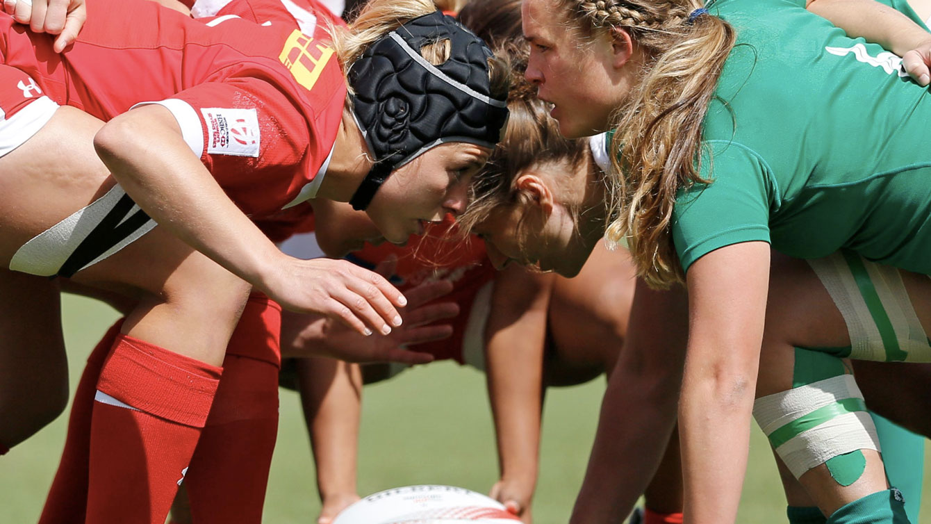 Canada (in red) at Atlanta Sevens on April 8, 2016 (Photo: World Rugby).