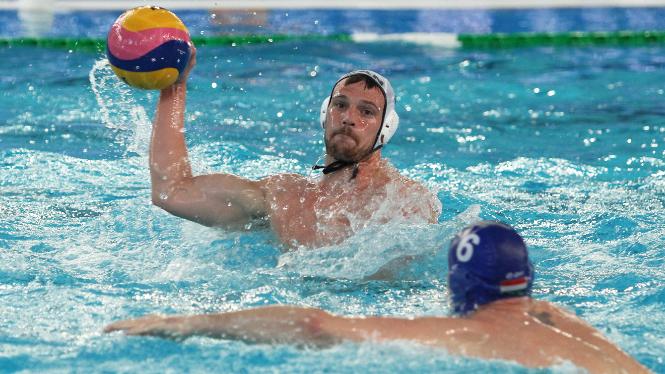Canada plays to a victory against Hungary at the men's Olympic Qualifation tournament in Trieste. Photo: Claudio Micali