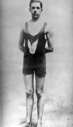George Hogdson in his competition suit