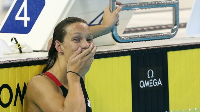 Penny Oleksiak reacting after her race