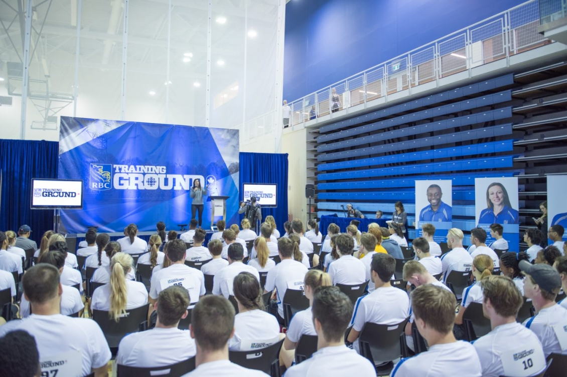 Two-time Olympian Caroline Calvé welcomes participants at RBC Training Ground in Toronto at the Canadian Sport Institute Ontario (CSIO). Photo Credit: Mike Palmer, Mike Palmer Photography