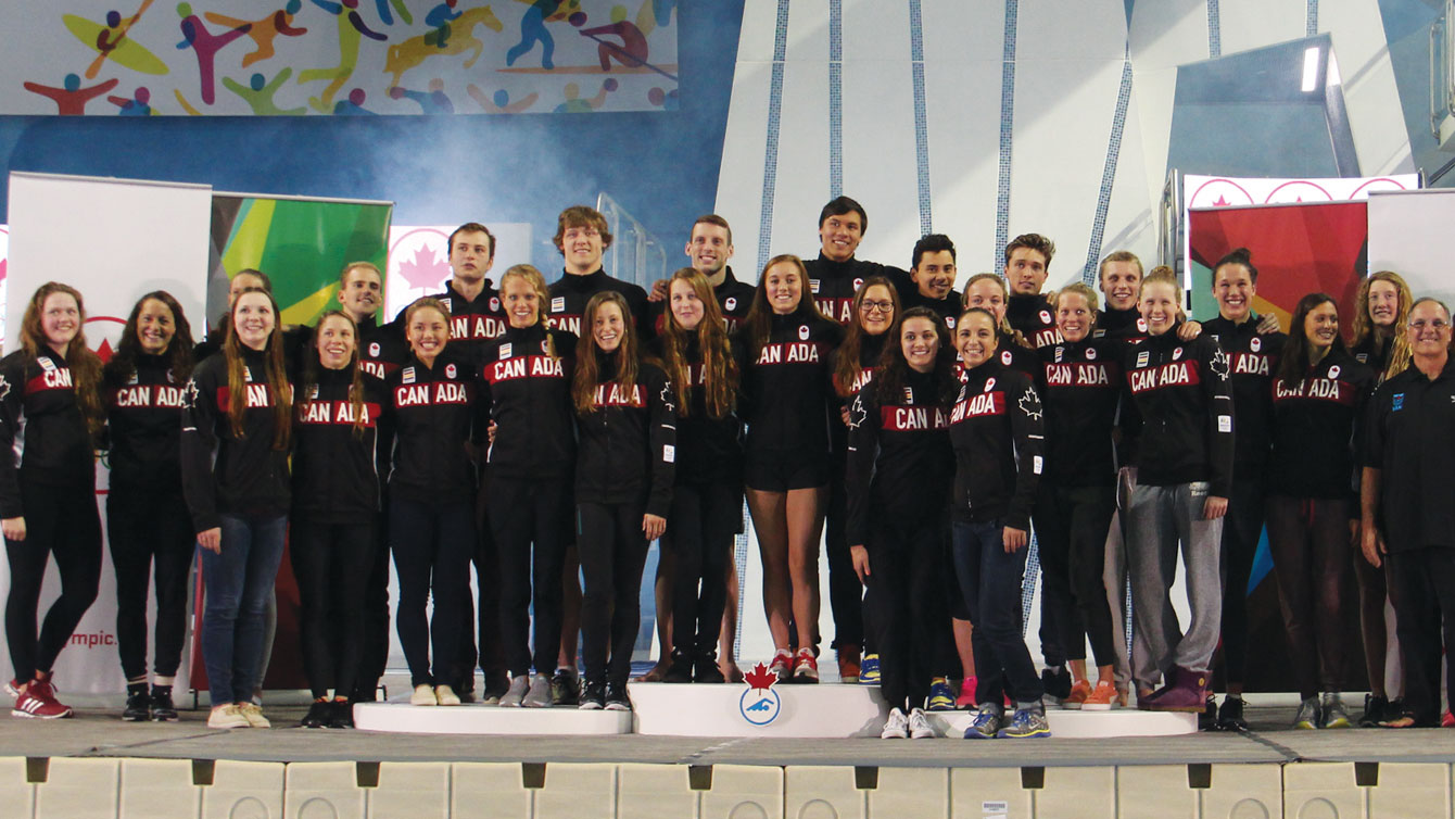 The pool swimmers named to Team Canada for Rio 2016 gathered for the team announcement on April 10, 2016.