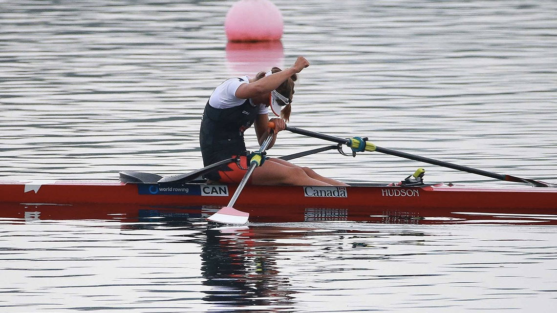 Carling Zeeman celebrates after winning women's single sculls on April 17, 2016 in Varese, Italy (Photo: Igor Meijer via FISA/World Rowing).