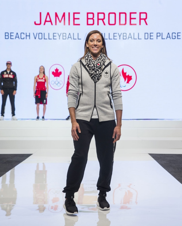 Jamie Broder at the 2016 Team Canada Olympic clothing launch by Hudson's Bay on April 12, 2016.