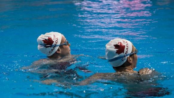 Simoneau and Thomas at the Toronto Pan Am Sports Centre during their Toronto visit before the Rio 2016 Games. (Thomas Skrlj/COC)