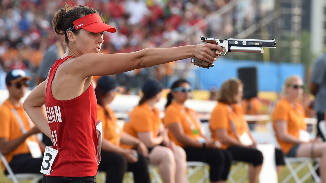 Melanie McCann competes in the Modern Pentathlon competition at the Toronto 2015 Pan Am Games.