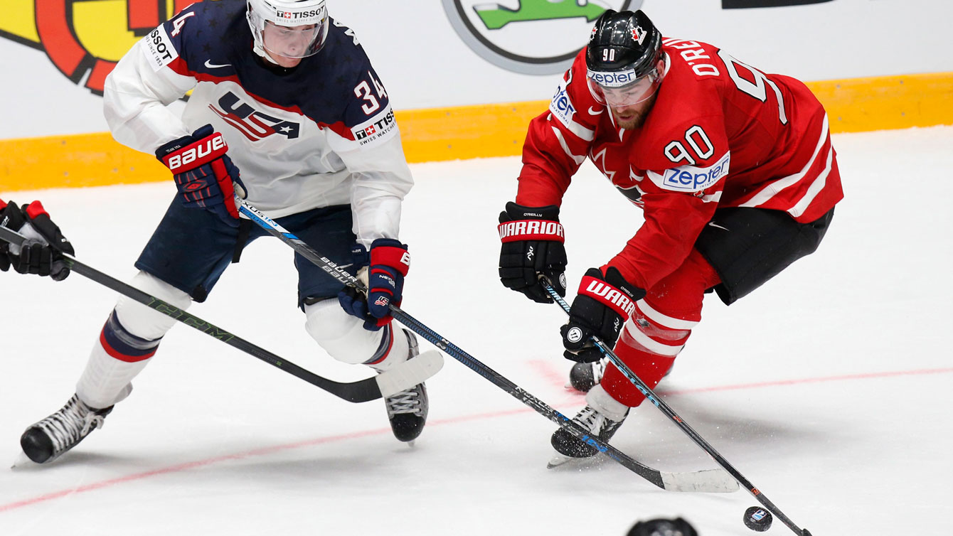 Ryan Reilly at the Hockey World Championships in Petersburg, Russia on May 6, 2016. (AP Photo/Dmitri Lovetsky)