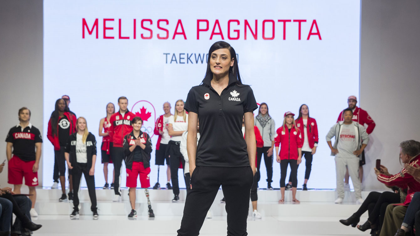 Melissa Pagnotta at the 2016 Team Canada Olympic collection by Hudson's Bay launch on April 12, 2016.