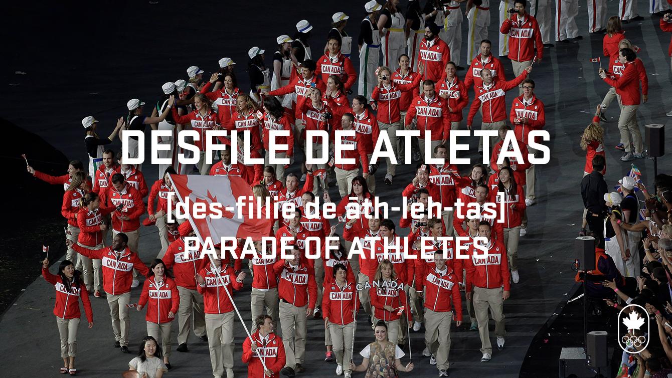 Desfile de atletas, phonetic and translation