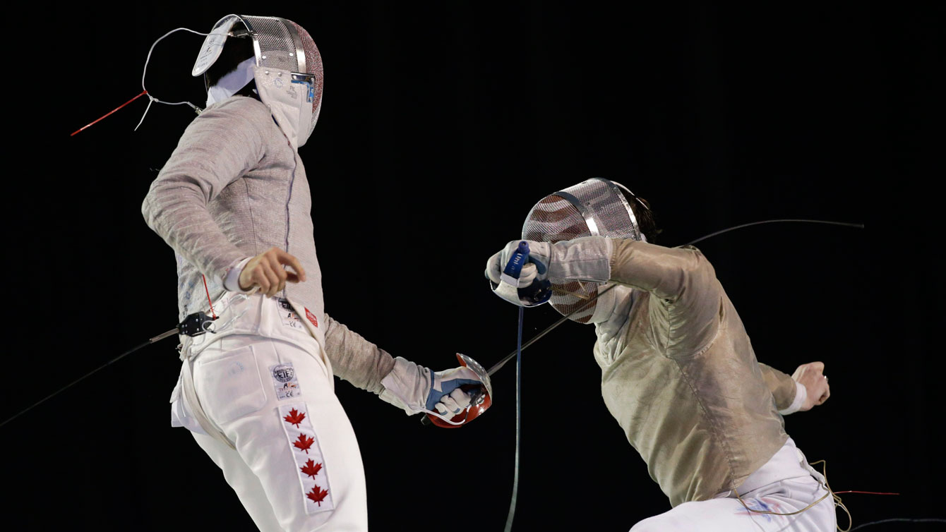 Joseph Polossifakis (left) competes at the TO2015 Pan Am Games on July 23, 2015.