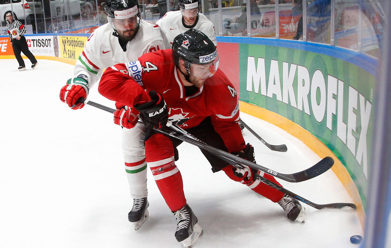Taylor Hall during the Hockey World Championships on St. Petersburg, Russia, on May 8, 2016. (AP Photo/Dmitri Lovetsky)