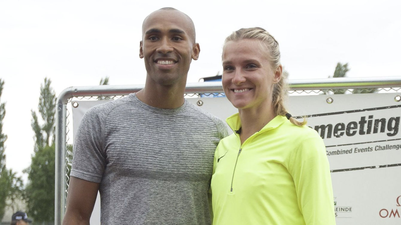 Damian Warner (left) in the decathlon and Brianne Theisen-Eaton in the heptathlon are the winners of the Hypo-Meeting in Gotzis, Austria on May 29, 2016 (Photo: Hypomeeting Götzis - meeting-goetzis.at)