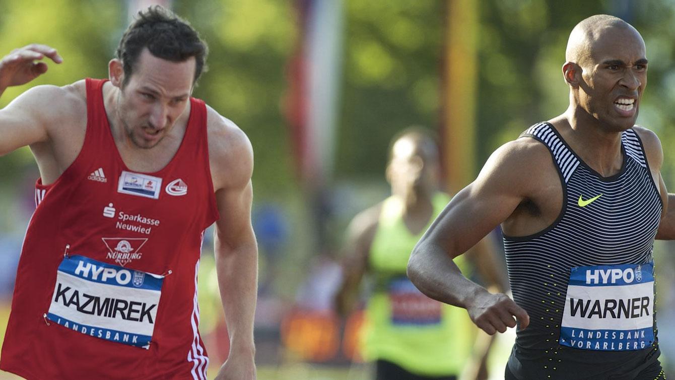 Kai Kazmirek of Germany edges Damian Warner in the 400m at the 2016 Hypo-Meeting decathlon in Gotzis, Austria (Photo: Günter Junk via meeting-goetzis.at)