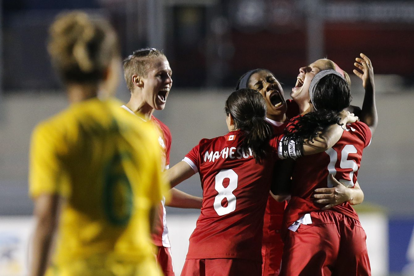 Janine Beckie (right) celebrates her late goal against Brazil to seal a 1-0 win in an international friendly on June 7, 2016 in Ottawa (Greg Kolz).