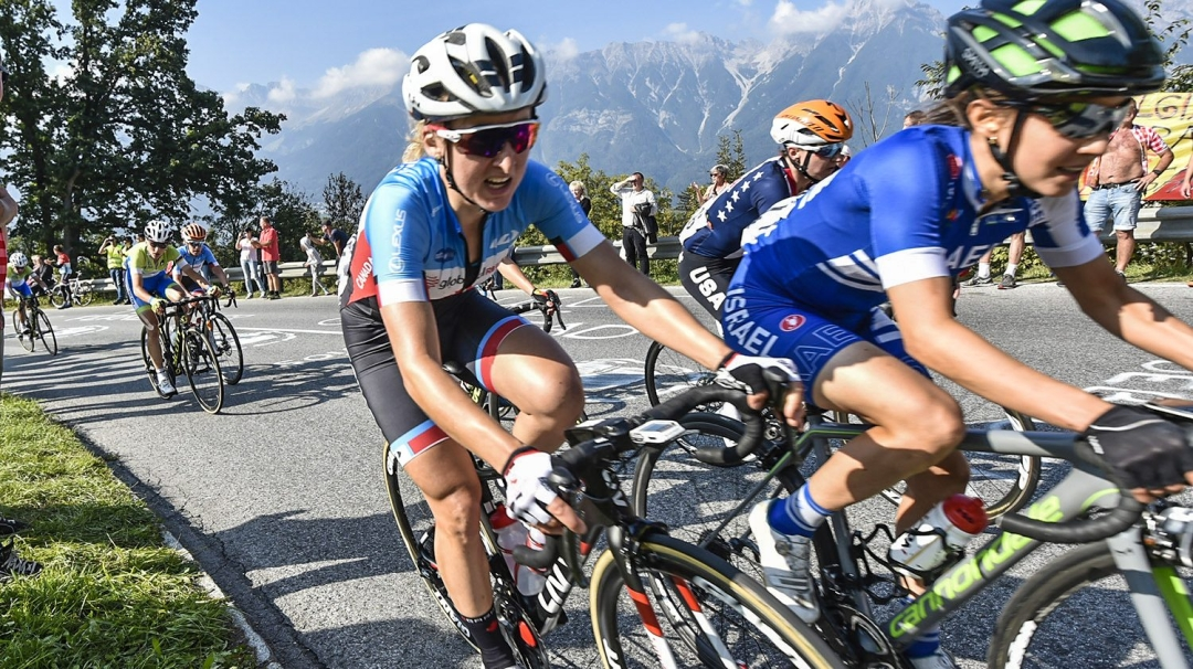 Leah Kirchmann competes in the road race