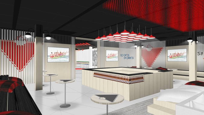 Rio 2016: Canada Olympic House rendering of Canadian Tire/Sport Chek | Molson Canadian Bar in the Celebration Lounge.