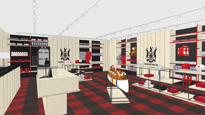 Rio 2016: Canada Olympic House rendering of the Canadian Olympic Store with official merchandise from Hudson's Bay and Oakley.