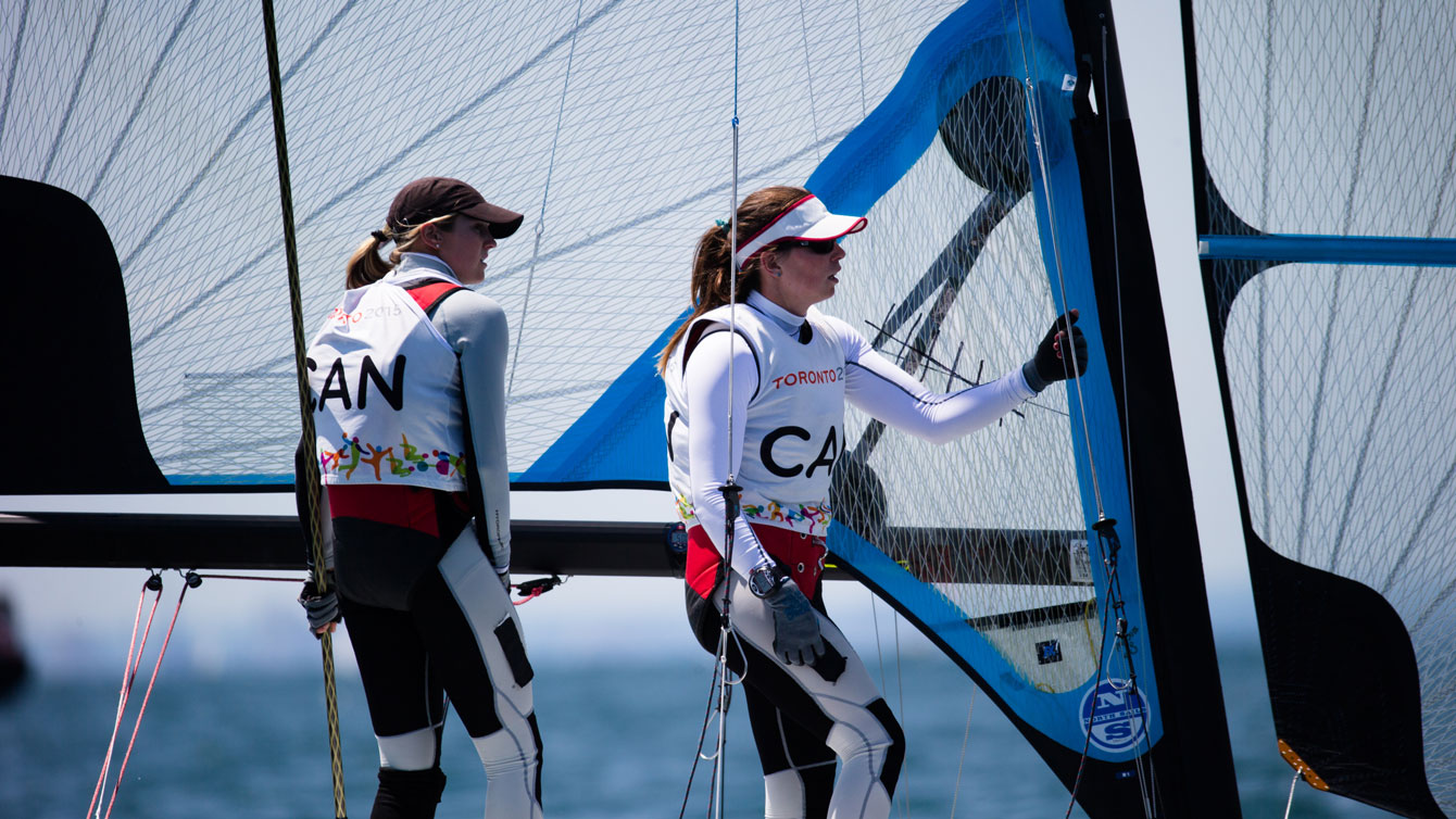 Erin Rafuse (left) and Danielle Boyd (right) compete at the 2015 Pan Am Games in Toronto.