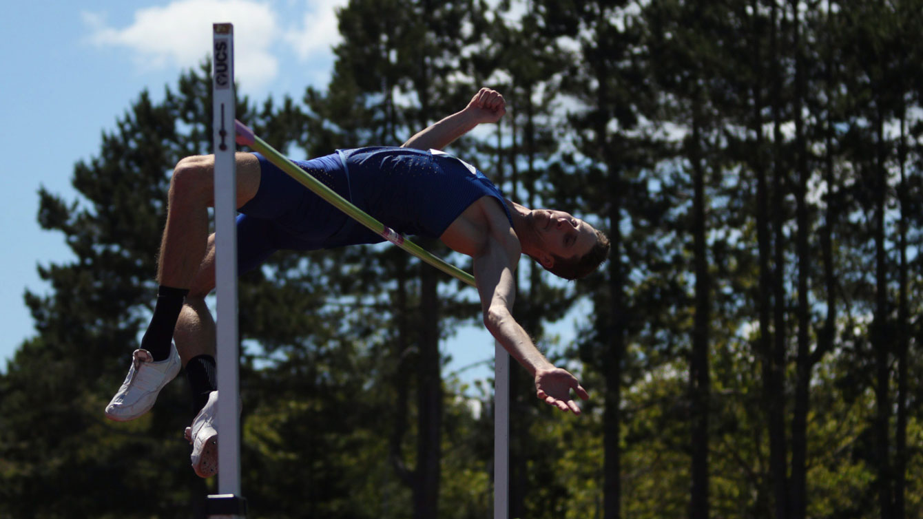 Derek Drouin wins high jump event with a height of 2.23m at the Victoria Track Classic in Victoria, BC on June 19, 2016. Photo: Chad Hipolito