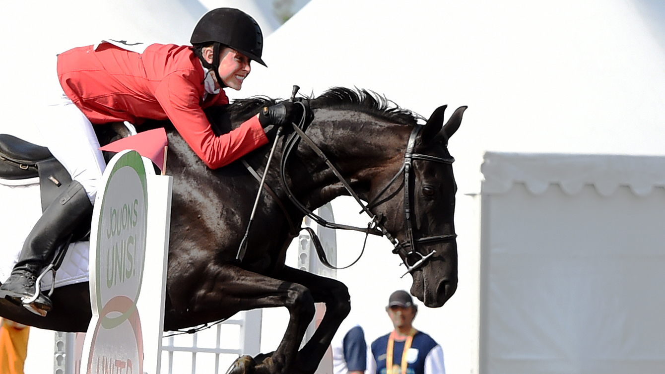 Donna Vakialis competes in the modern pentathlon competition at the Toronto 2015 Pan Am Games