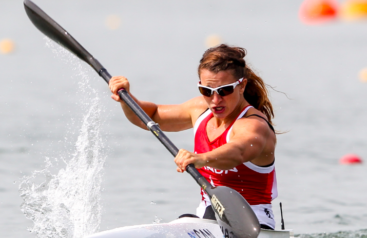 Langlois in the water during a race