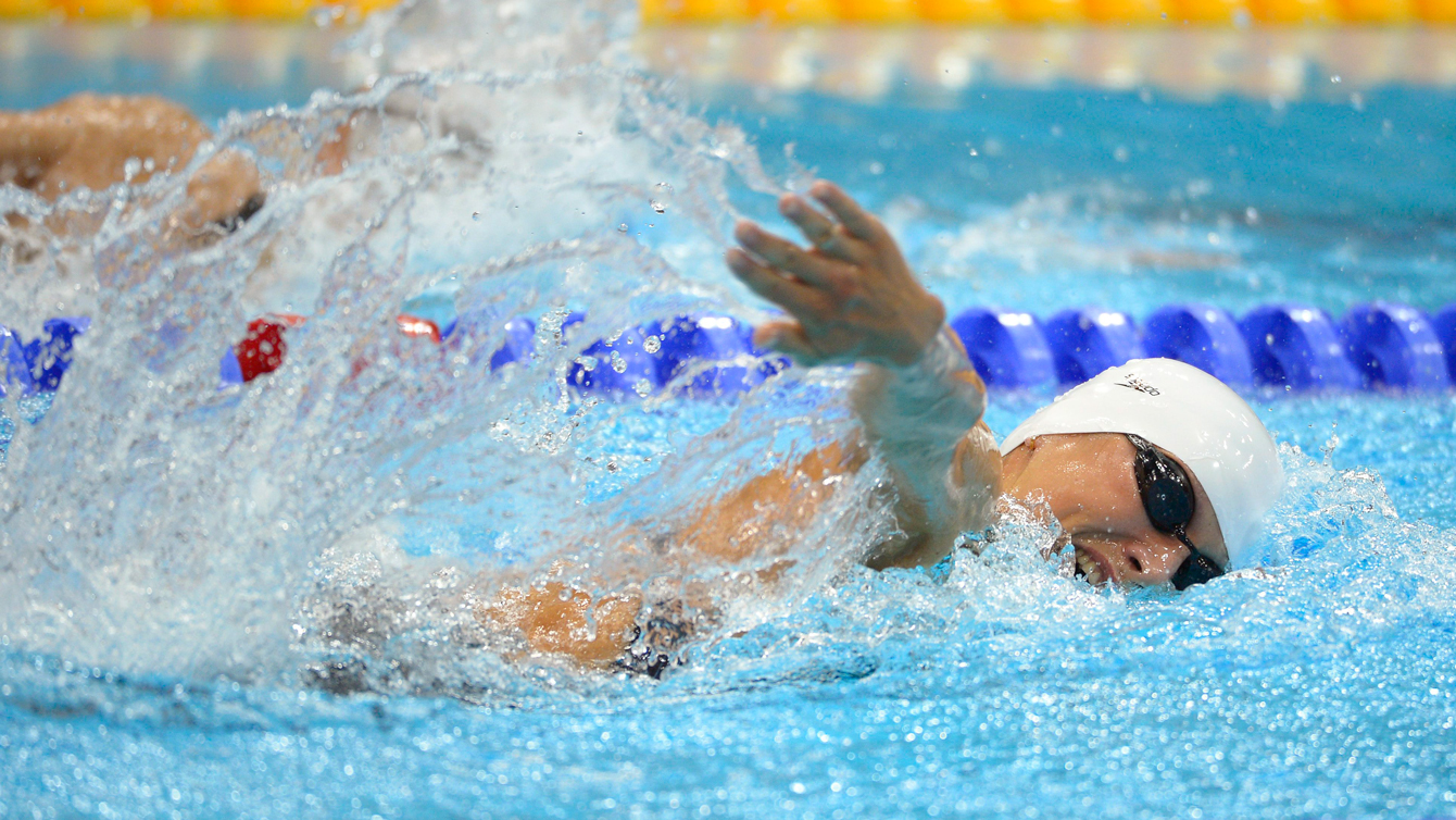Elena Rublevska of Latvia swims in the 200-meter freestyle during the swimming portion of the women's modern pentathlon at the Aquatics Centre in the Olympic Park during the 2012 Summer Olympics in London, Sunday, Aug. 12, 2012. (AP Photo/Mark J. Terrill)