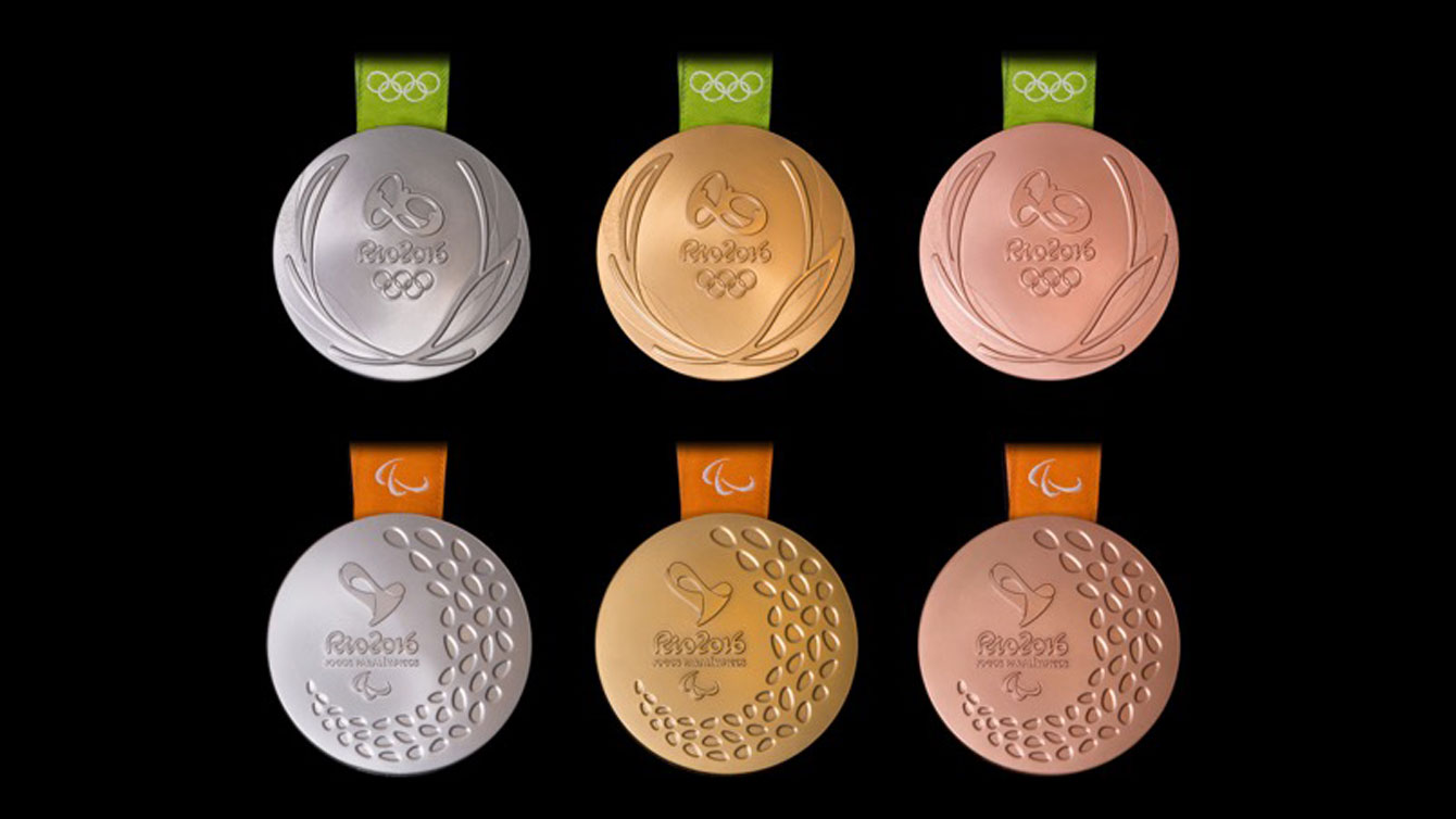 Olympic medals (top) and Paralympic medals