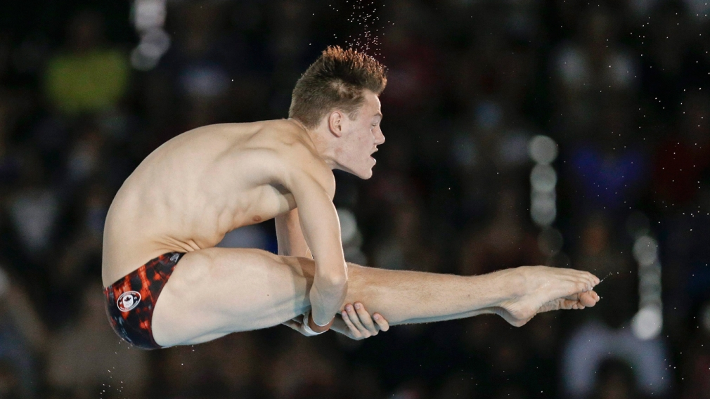 Vincent Riendeau competing in diving