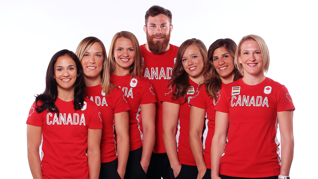 Seven new Olympians, along with Haislan Garcia will represent Canada in wrestling at Rio 2016. (L-R) Jasmine Mian, Danielle Lappage, Erica Wiebe, Korey Jarvis, Dorothy Yeats, Michelle Fazzari and Jillian Gallays.