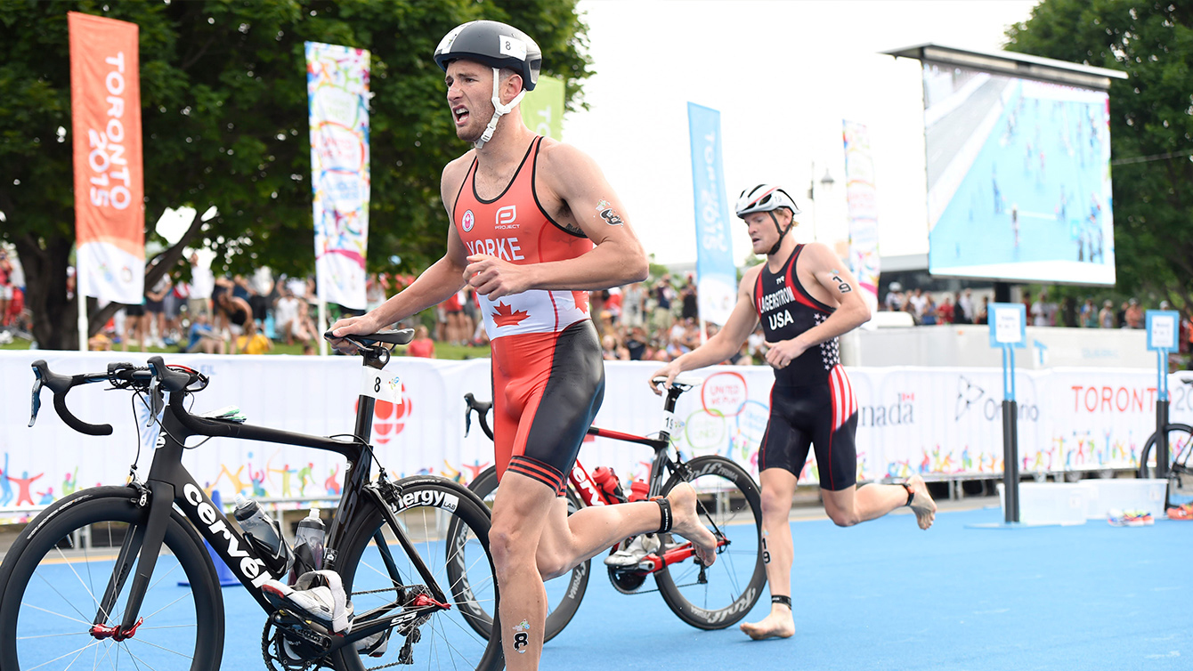 Triathlete Andrew Yorke competes at the Toronto 2015 Pan Am Games.