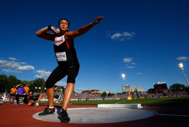 Taryn Suttie of Canada competes in the women's shot put during the athletics at the Pan Am Games in Toronto, Wednesday July 22, 2015. THE CANADIAN PRESS/Mark Blinch