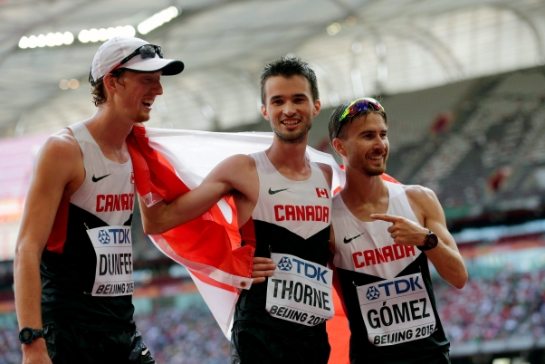 From left, Canada's Evan Dunfee, Benjamin Thorne and Inaki Gomez after Thorne finished third in the men's 20k race walk final at the World Athletics Championships at the Bird's Nest stadium in Beijing, Sunday, Aug. 23, 2015. (AP Photo/David J. Phillip)