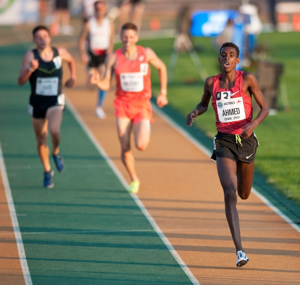 Mohammed Ahmed (R) finishes ahead of the field in the senior men 5000m final at the Canadian Track and Field Championships and Selection Trials for the 2016 Summer Olympic and Paralympic Games, in Edmonton, Alta., on Thursday July 7, 2016. THE CANADIAN PRESS/Dan Riedlhuber