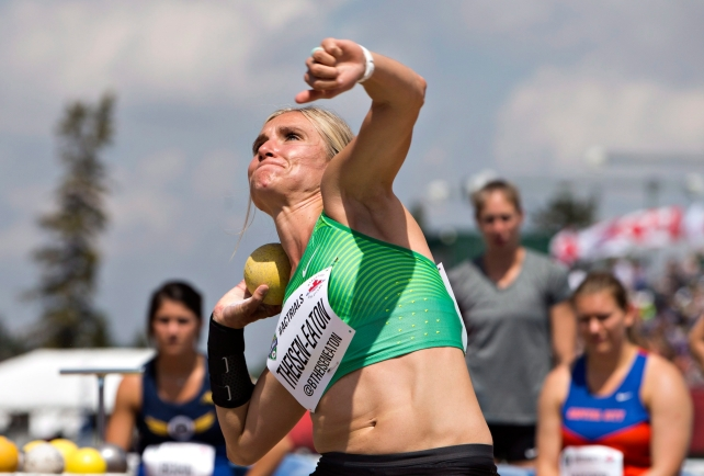 Brianne Theisen-Eaton makes her throw during the senior women's qualifying at the Canadian Track and Field Championships and Selection Trials for the 2016 Summer Olympic and Paralympic Games, in Edmonton, Alta., on Friday, July 8, 2016.THE CANADIAN PRESS/Jason Franson