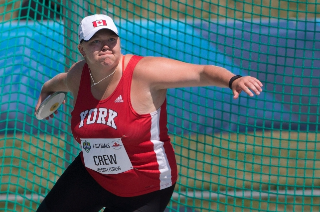 Brittany Crew makes her throw during the senior women's discus final at the Canadian Track and Field Championships and Selection Trials for the 2016 Summer Olympic and Paralympic Games, in Edmonton, Alta., on Friday, July 8, 2016.THE CANADIAN PRESS/Jason Franson