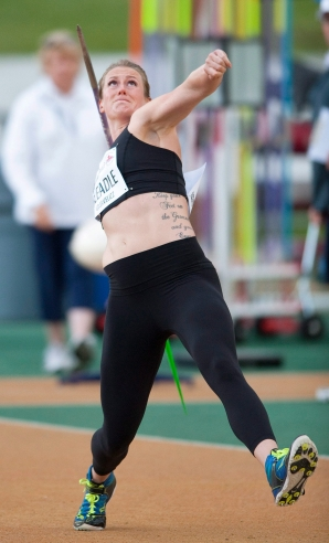 Elizabeth Gleadle competes during the senior women's javelin final at the Canadian Track and Field Championships and Selection Trials for the 2016 Summer Olympic and Paralympic Games, in Edmonton, Alta., on Friday July 8, 2016. THE CANADIAN PRESS/Dan Riedlhuber