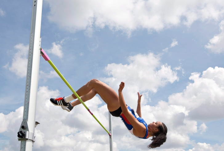 Alyxandria Treasure makes her jump during the senior women's high jump final at the Canadian Track and Field Championships and Selection Trials for the 2016 Summer Olympic and Paralympic Games, in Edmonton, Alta., on Saturday July 9, 2016.THE CANADIAN PRESS/Jason Franson