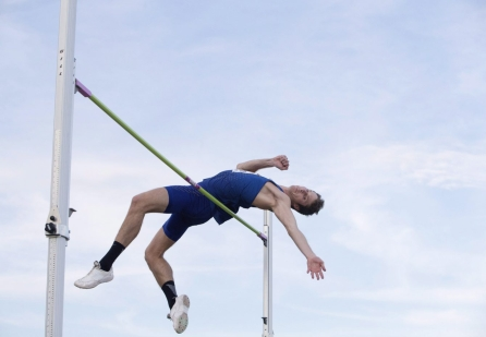 Derek Drouin makes his jump during the senior men's semifinal at the Canadian Track and Field Championships and Selection Trials for the 2016 Summer Olympic and Paralympic Games, in Edmonton, Alta., on Saturday, July 9, 2016. THE CANADIAN PRESS/Jason Franson