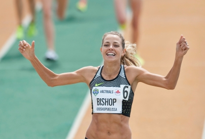 Melissa Bishop crosses the finish line in the senior women 800m run during the Canadian Track and Field Championships and Selection Trials for the 2016 Summer Olympic and Paralympic Games, in Edmonton, Alta., on Sunday July 10, 2016. THE CANADIAN PRESS/Dan Riedlhuber
