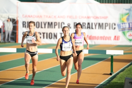 Maria Bernard, headed to Rio for the 3000m steeplechase after qualifying at at the Canadian Track and Field Championships and Selection Trials for the 2016 Summer Olympic and Paralympic Games, in Edmonton, Alta. (Steve Boudraeu/COC).