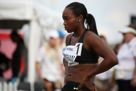 Khamica Bingham will be headed to Rio for the 4x100m relay after qualifying at the Canadian Track and Field Championships and Selection Trials for the 2016 Summer Olympic and Paralympic Games, in Edmonton, Alta. (Steve Boudraeu/COC).