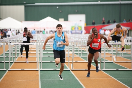 Jonathan Carbal in the 100m hurdles event at the Canadian Track and Field Championships and Selection Trials for the 2016 Summer Olympic and Paralympic Games, in Edmonton, Alta. (Steve Boudraeu/COC)