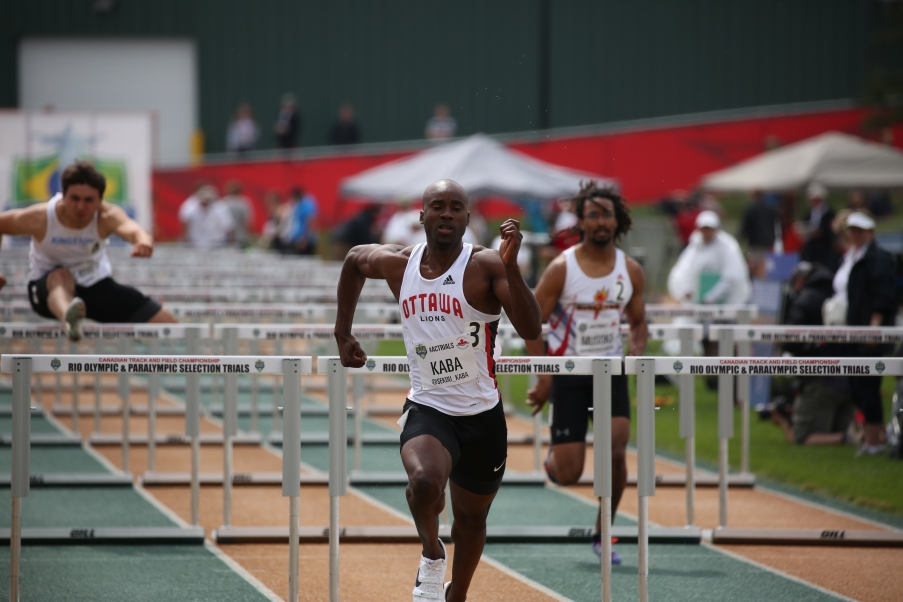 Sekou Kaba will be headed to Rio for the 100m hurdles after qualifying at at the Canadian Track and Field Championships and Selection Trials for the 2016 Summer Olympic and Paralympic Games, in Edmonton, Alta. (Steve Boudraeu/COC)