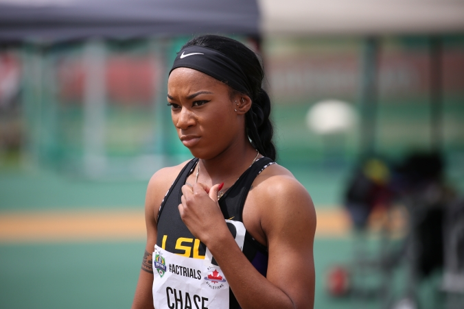 Chance Chase before competing in the 400m hurdles at the Canadian Track and Field Championships and Selection Trials for the 2016 Summer Olympic and Paralympic Games, in Edmonton, Alta. Chase will also be competing in the 4x400m relay (Steve Boudraeu/COC)